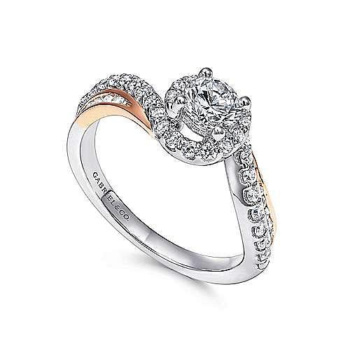 14K White-Rose Gold Round Bypass Diamond Engagement Ring