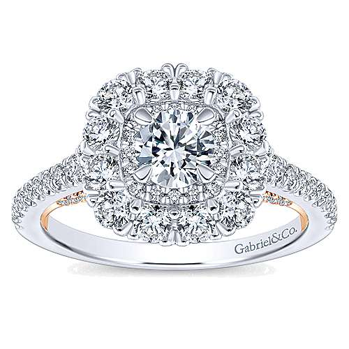 14K White-Rose Gold Round Complete Diamond Engagement Ring