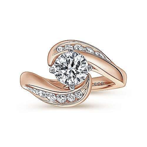 14K White-Rose Gold Round Diamond Bypass Engagement Ring