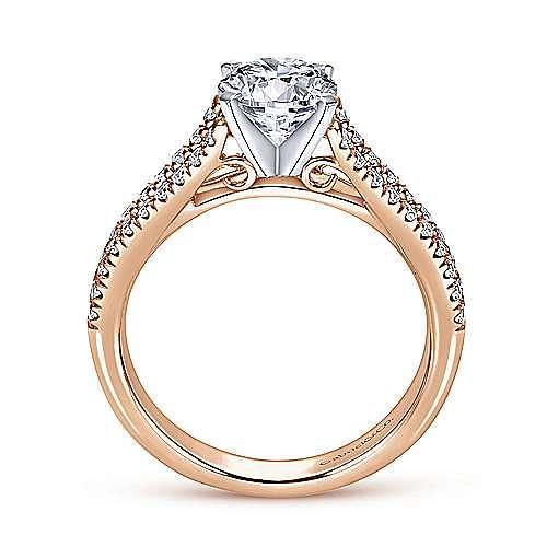 14K White-Rose Gold Round Diamond Split Shank Engagement Ring