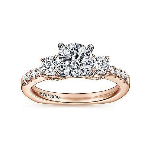 14K White-Rose Gold Round Diamond Three Stone Engagement Ring