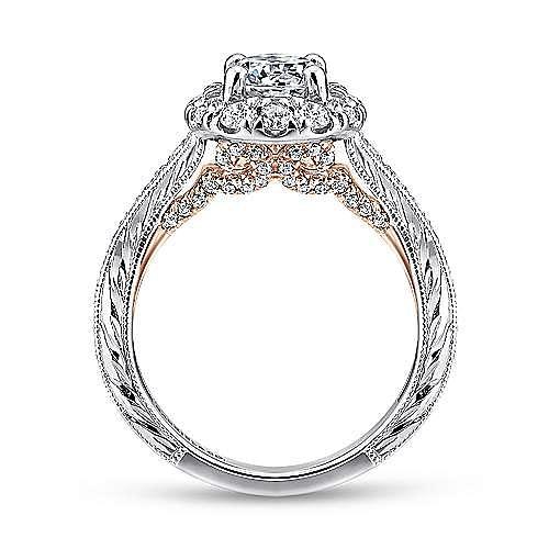 14K White-Rose Gold Round Halo Diamond Engagement Ring