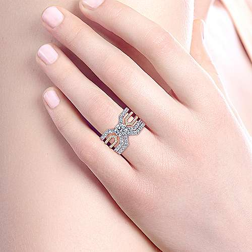14K White-Rose Gold Round Split Shank Diamond Engagement Ring