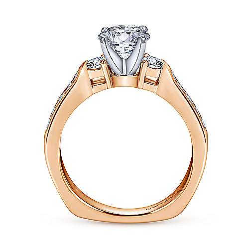 14K White-Rose Gold Round Three Stone Diamond Engagement Ring
