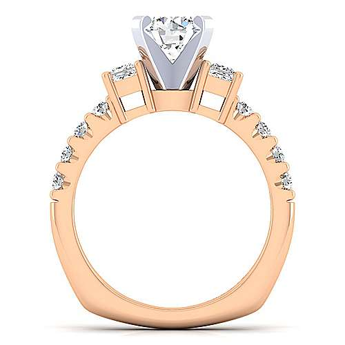 14K White-Rose Gold Round Three Stone Diamond Engagement Ring