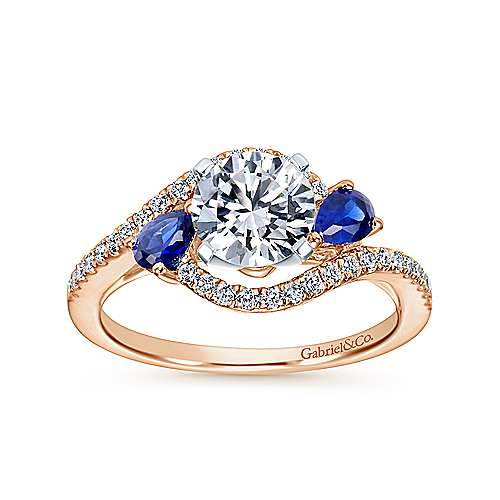 14K White-Rose Gold Round Three Stone Sapphire and Diamond Engagement Ring