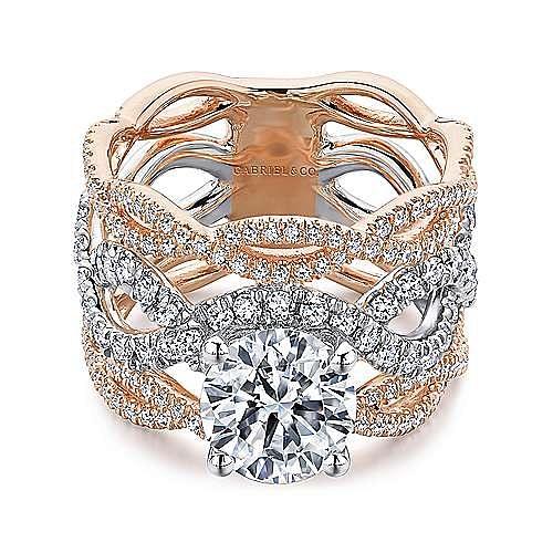 14K White-Rose Gold Round Twisted Diamond Engagement Ring