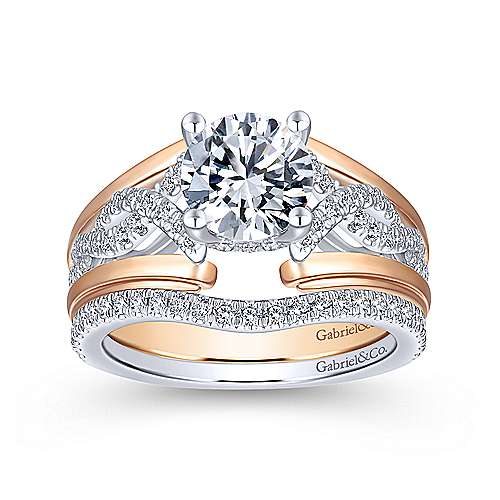 14K White-Rose Gold Round Twisted Diamond Engagement Ring