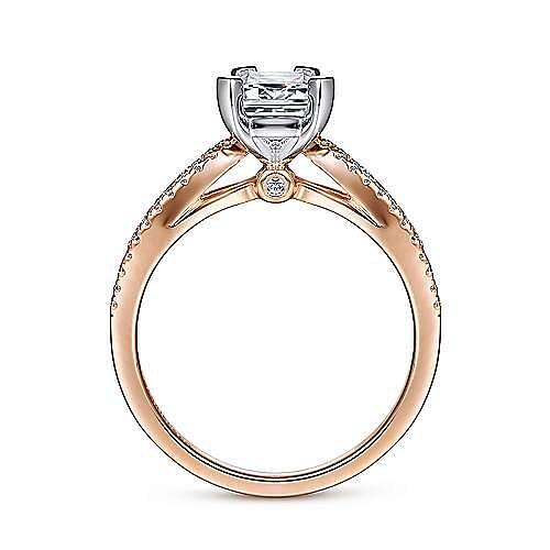 14K White-Rose Gold Split Shank Emerald Cut Diamond Engagement Ring