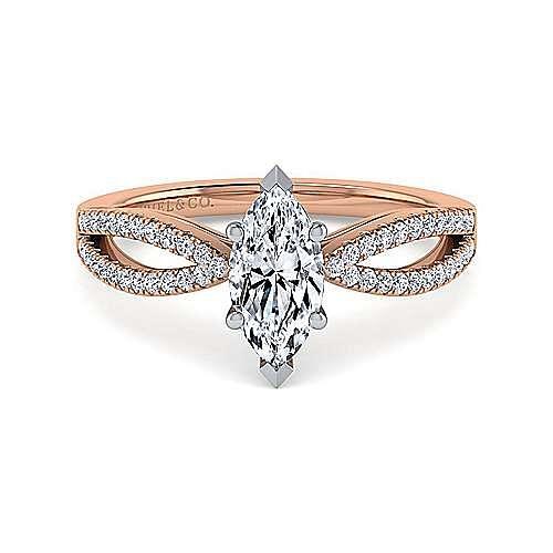 14K White-Rose Gold Split Shank Marquise Shape Diamond Engagement Ring