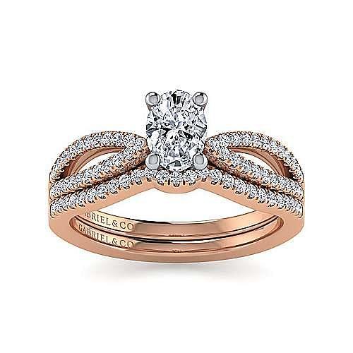 14K White-Rose Gold Split Shank Oval Diamond Engagement Ring