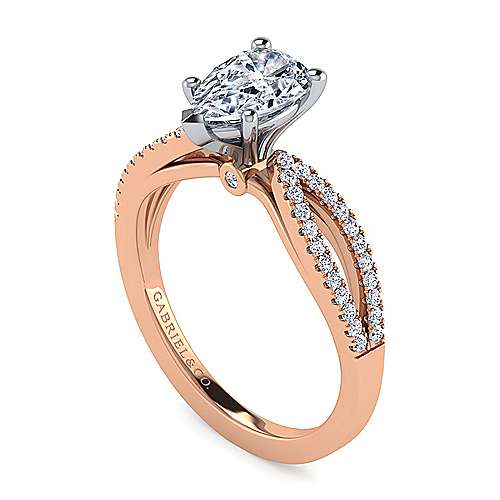 14K White-Rose Gold Split Shank Pear Shape Diamond Engagement Ring