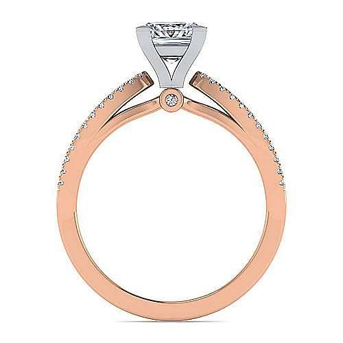 14K White-Rose Gold Split Shank Princess Cut Diamond Engagement Ring