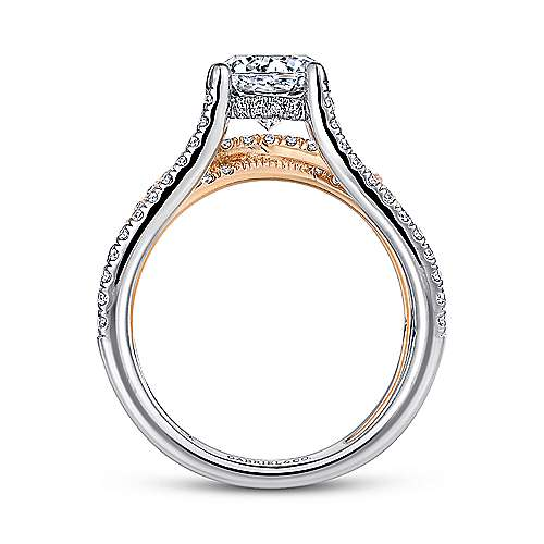 14K White-Rose Gold Split Shank Round Diamond Engagement Ring