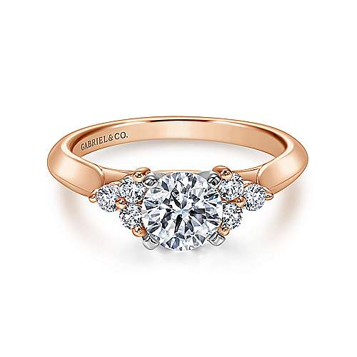 14K White-Rose Gold Three Stone Cluster Round Diamond Engagement Ring