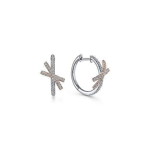 14K White-Rose Gold Twisted 15mm Diamond Huggies