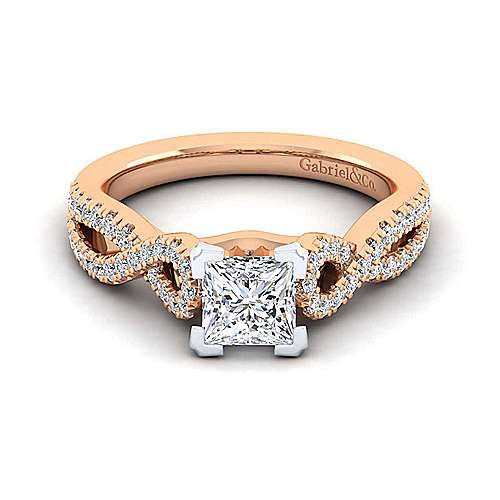 14K White-Rose Gold Twisted Princess Cut Diamond Engagement Ring