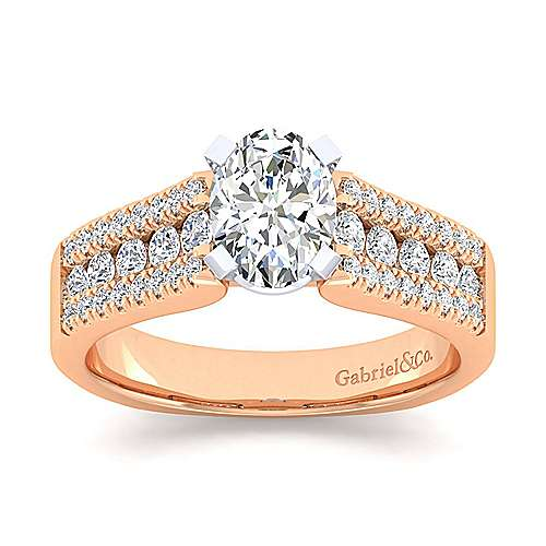14K White-Rose Gold Wide Band Oval Diamond Engagement Ring