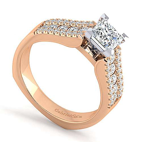 14K White-Rose Gold Wide Band Princess Cut Diamond Engagement Ring