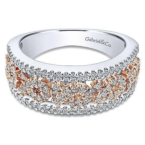 14K White-Rose Gold Wide Swirly Diamond Ring