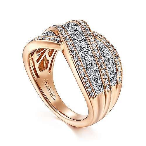 14K White-Rose Wide Diamond Channel Criss Cross Ring
