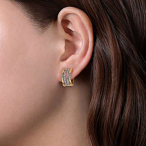 14K White-Yellow Gold 15MM Diamond Earrings