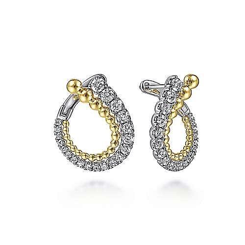 14K White-Yellow Gold 20MM Diamond Earrings