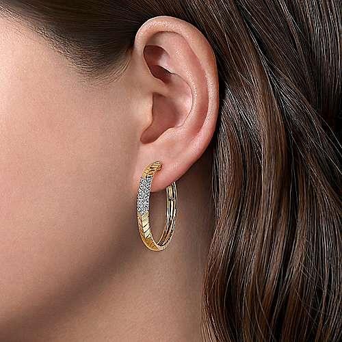 14K White-Yellow Gold 30MM Classic Diamond Hoop Earrings