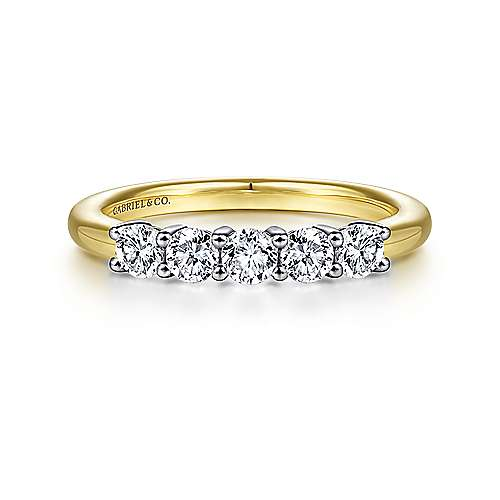 14K White-Yellow Gold 5 Stone Diamond Anniversary Band