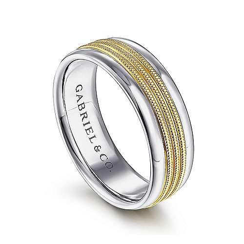 14K White-Yellow Gold 7mm - Center Rope Channels and Polished Edge Men's Wedding Band