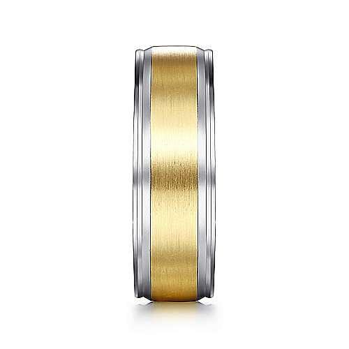 14K White-Yellow Gold 7mm - Satin Center Men's Wedding Band