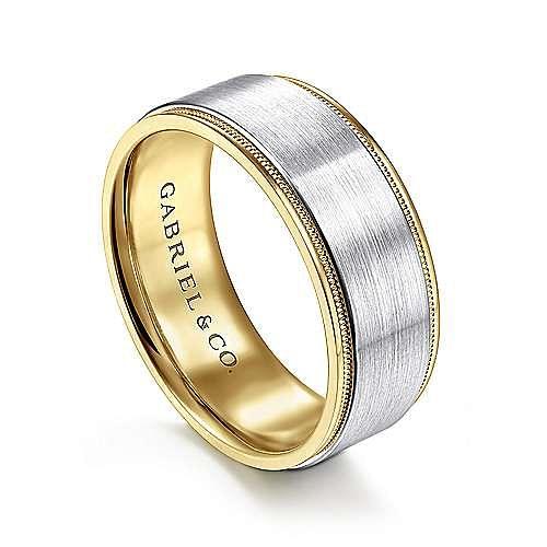 14K White-Yellow Gold 8mm - Satin Polished Edge Men's Wedding Band