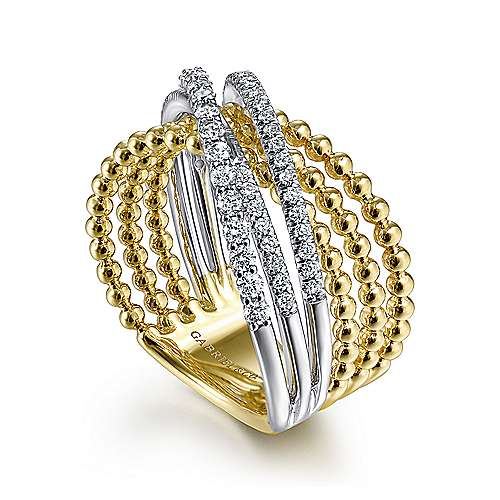 14K White-Yellow Gold Bujukan Ball and Diamond Criss Cross Ring