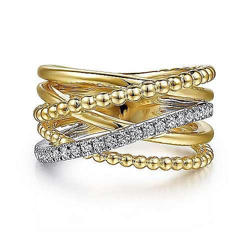 14K White-Yellow Gold Bujukan Ball and Diamond Criss Cross Ring