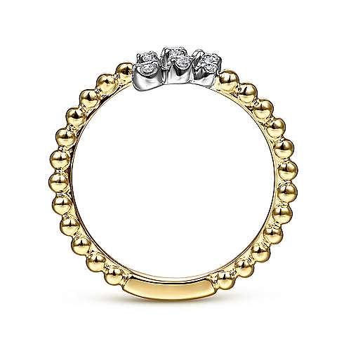 14K White-Yellow Gold Bujukan Ball and Diamond Open Bypass Ring