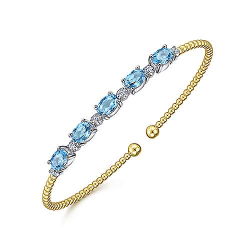 14K White-Yellow Gold Bujukan Bead Cuff Bracelet with Blue Topaz and Diamond Stations