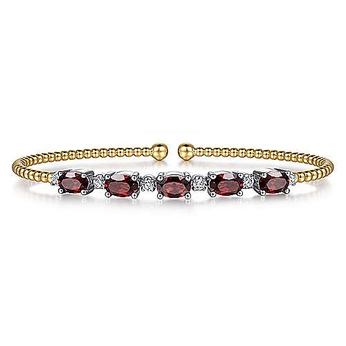 14K White-Yellow Gold Bujukan Bead Cuff Bracelet with Garnet and Diamond Stations