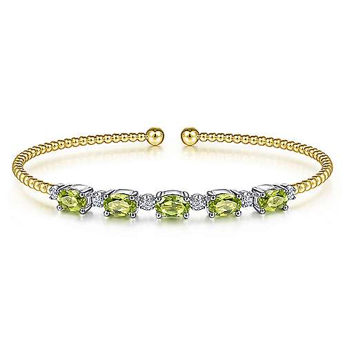 14K White-Yellow Gold Bujukan Bead Cuff Bracelet with Peridot and Diamond Stations