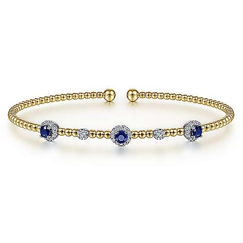 14K White-Yellow Gold Bujukan Bead Cuff Bracelet with Sapphire and Diamond Halo Stations