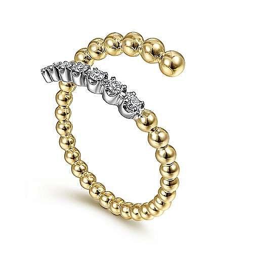 14K White-Yellow Gold Bujukan Bead and Diamond Wrap Ring