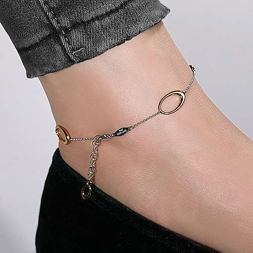 14K White-Yellow Gold Chain Ankle Bracelet with Oval Link Stations and Diamond Accents