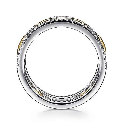 14K White-Yellow Gold Chain Link Diamond Border Ring