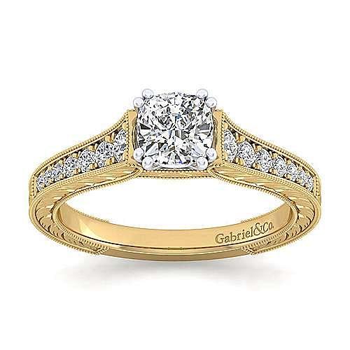 14K White-Yellow Gold Cushion Cut Diamond Engagement Ring
