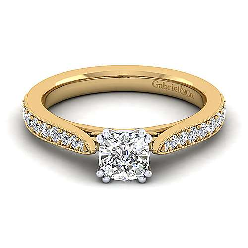 14K White-Yellow Gold Cushion Cut Diamond Engagement Ring