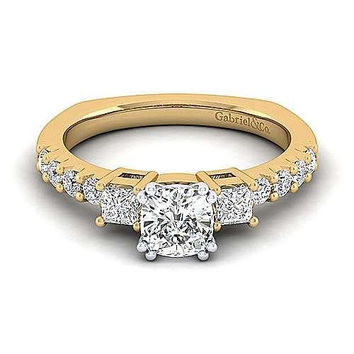 14K White-Yellow Gold Cushion Cut Three Stone Diamond Engagement Ring
