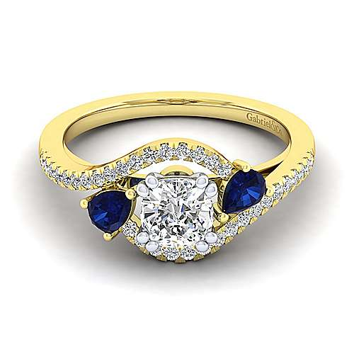 14K White-Yellow Gold Cushion Cut Three Stone Sapphire and Diamond Engagement Ring