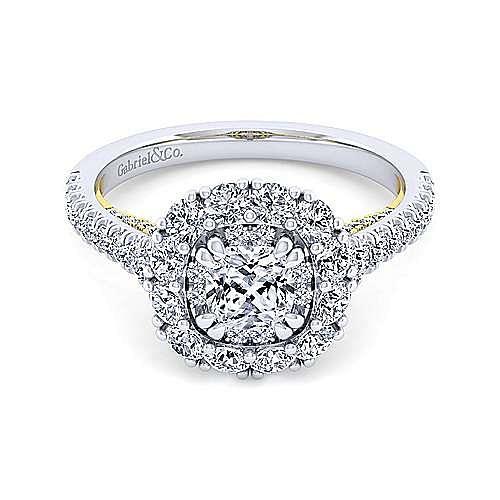 14K White-Yellow Gold Cushion Double Halo Diamond Engagement Ring
