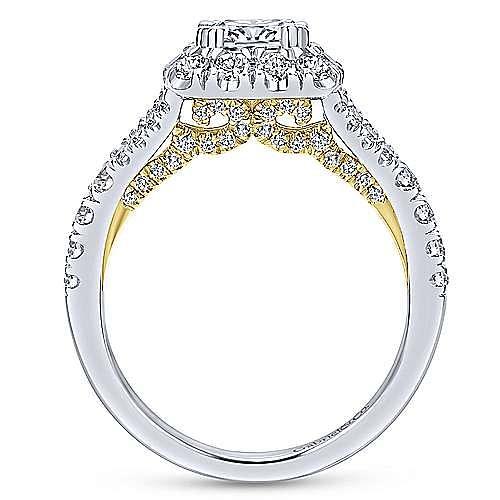 14K White-Yellow Gold Cushion Halo Diamond Engagement Ring