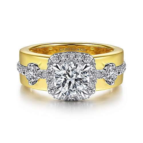 14K White-Yellow Gold Cushion Halo Round Diamond Engagement Ring