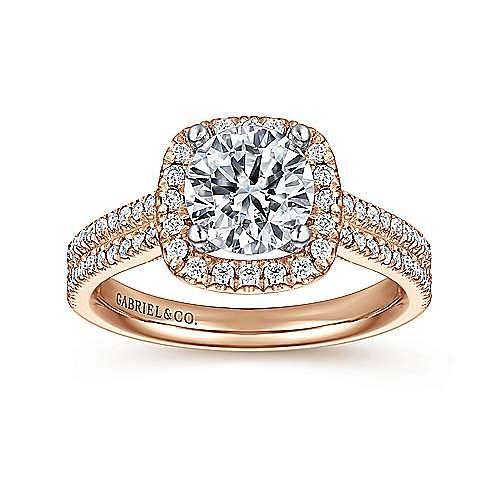 14K White-Yellow Gold Cushion Halo Round Diamond Engagement Ring